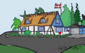 Kunstnerhuset. Husportræt af mit eget hus i Skibinge ved Præstø. Tegning Merete Helbech Hansen