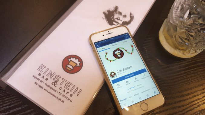 Café Einstein med logo julepyntet til brug på Café Einstein side på Facebook. Julepynt Merete Helbech Hansen