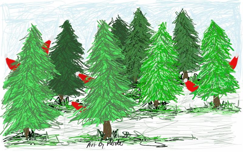 Merete Helbech. Juletegning. Illustration