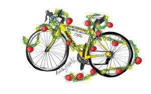 Team Rynkeby Nordsjælland 's Bianchi cykel blev også pyntet fint til jul. Illustration Merete Helbech Hansen
