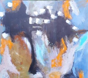 """Calendula in oktober"" 70x80 akryl på hørlærred. Kr. 5.000 Merete Helbech Hansen"