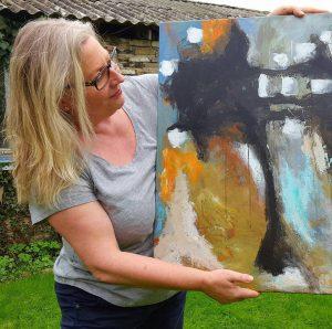"""""""Calendula in oktober"""" tjekker jeg her, lige en ekstra gang ude i daglyset. Maleriet måler 70x80 og er til salg. Merete Helbech Hansen"""