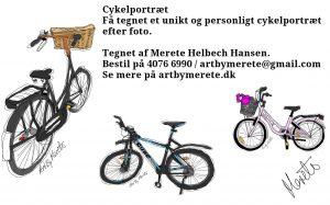 Glæd med et personligt cykelportræt som gave eller til dig selv. Kontakt Merete på 4076 6990 eller artbymerete@gmail.com Illustration: Merete Helbech Hansen