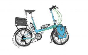 Dan kom fra USA på sin cykel som han straks bestilte sit personlige cykelportræt af. Illustration Merete Helbech Hansen