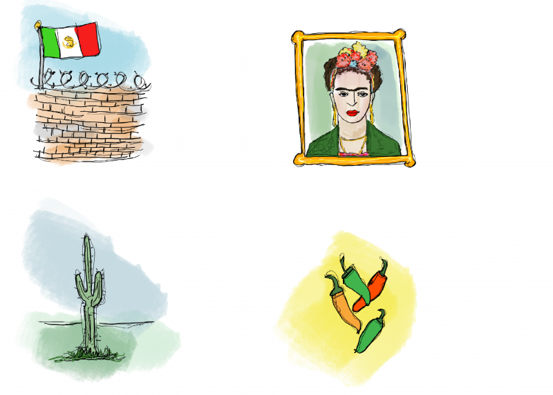 Merete Helbech. Illustration. Bordkort. Mexicansk