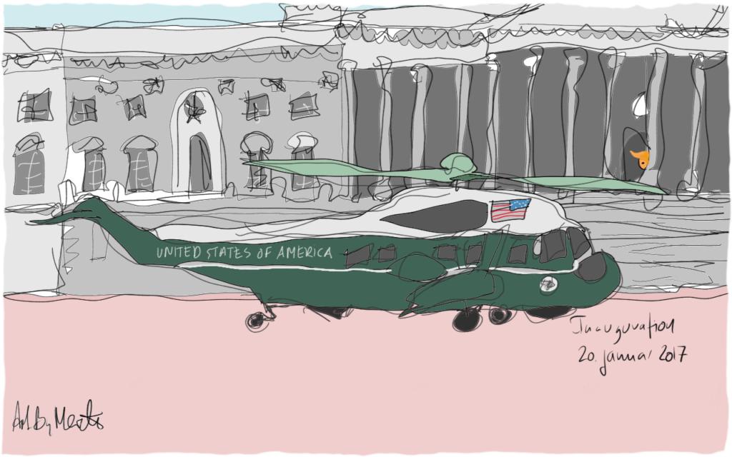 2017 Valget i USA. Donald Trump lander i Det Hvide Hus. Kunne også ligne at han stikker af i 2021. Illustration Merete Helbech