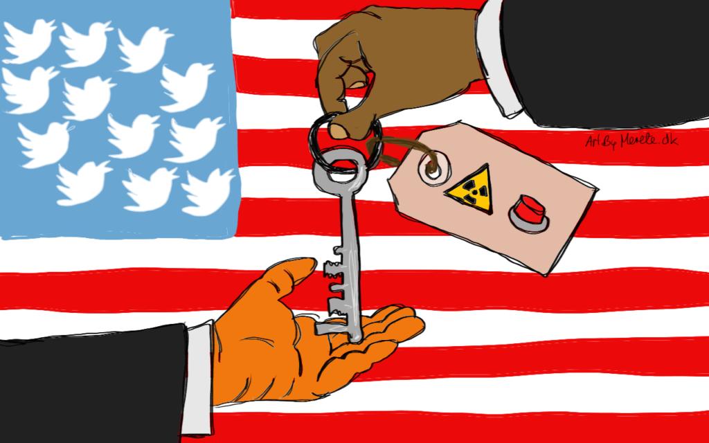 2017 Valget i USA. Obama overdrager nøglerne til Donald Trump. Illustration Merete Helbech