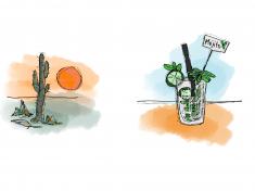Merete Helbech. Illustration. Bordkort. Mexicansk